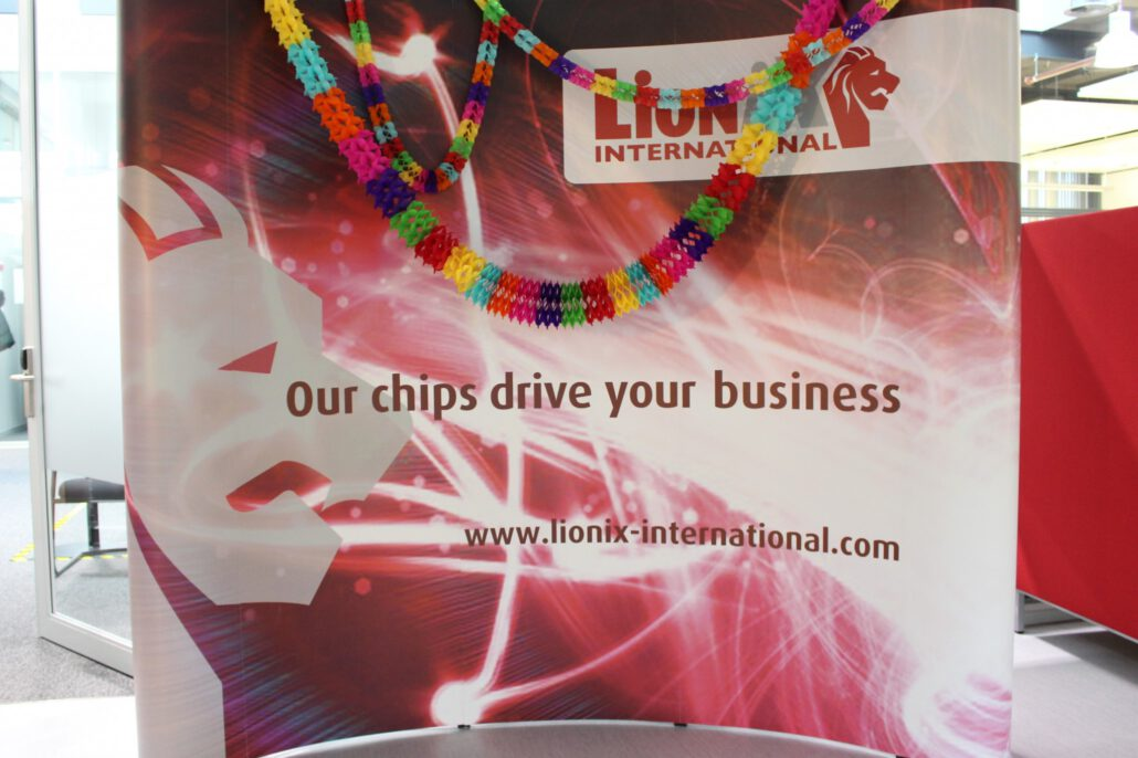 LioniX banner decorated for anniversary
