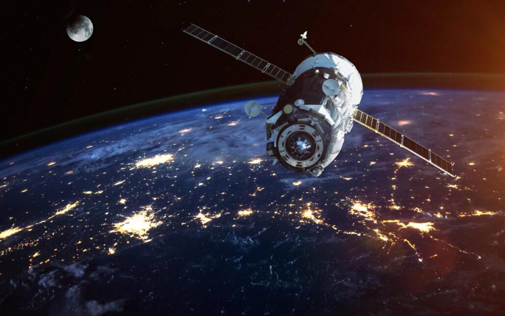 Artists impression of satellite in orbit around earth